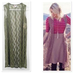 LULAROE   Joy Vest Olive Green Boho Lace XS NWT
